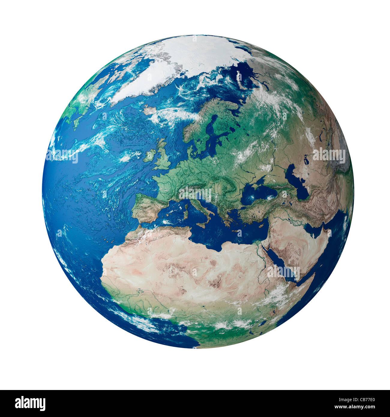 Globe zeigt den Kontinent Europa - auf weißem Hintergrund, ausgeschnitten, Silo, isolierte studio Stockbild