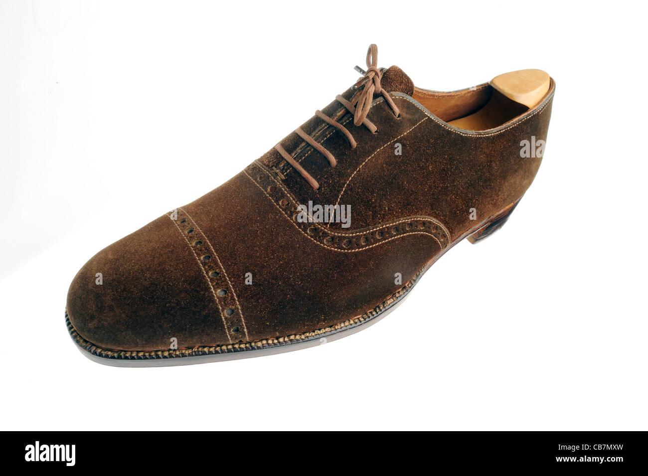 Braune Wildleder Brogue Schuh von John Lobb Stockbild