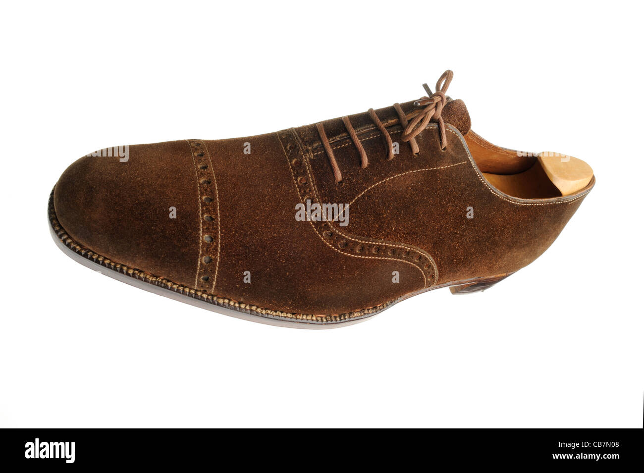 Traditionelle braune Wildleder Schuh von John Lobb St James's Stockbild