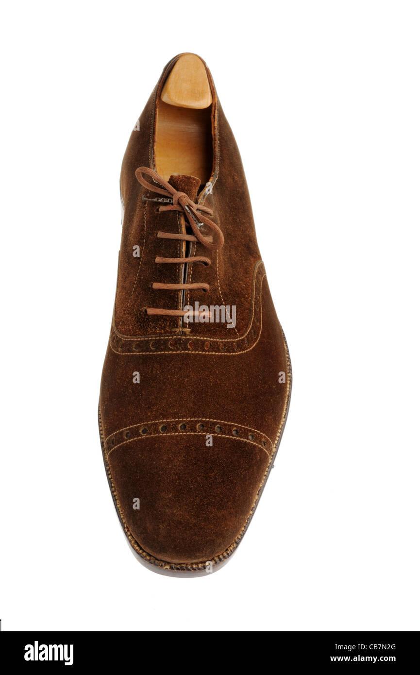 Traditionelle braune Wildleder maßgeschneiderten Schuh von John Lobb Stockbild