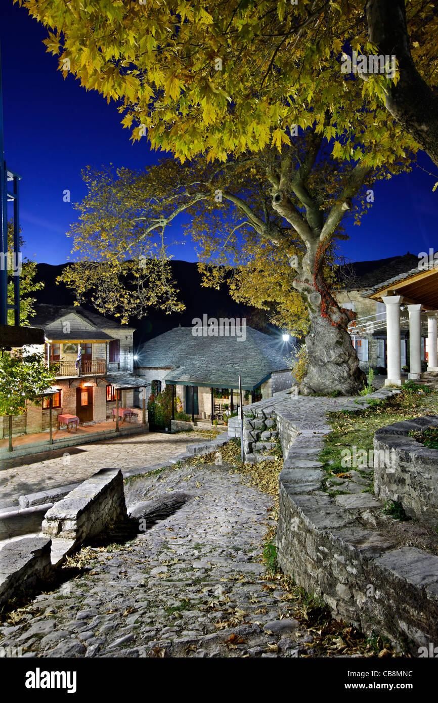 Kalarrytes Dorf, einer der schönsten griechischen Bergdörfern auf Tzoumerka Berge, Ioannina, Epirus, Griechenland Stockbild