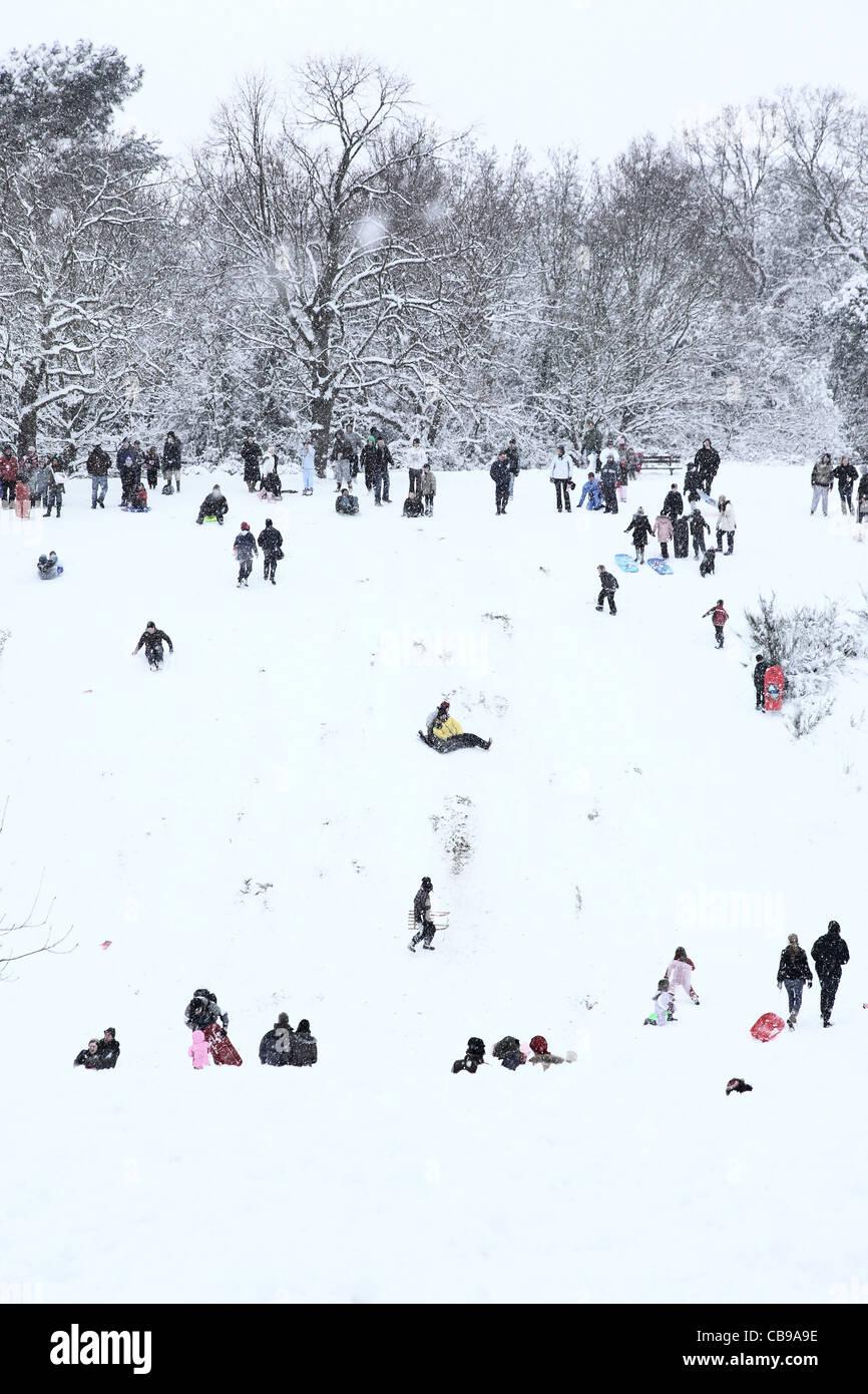 Leute, die Spaß auf dem Schnee bedeckt Schiebe-Hügel hinunter auf Schlitten oder alles, was sie finden Stockbild