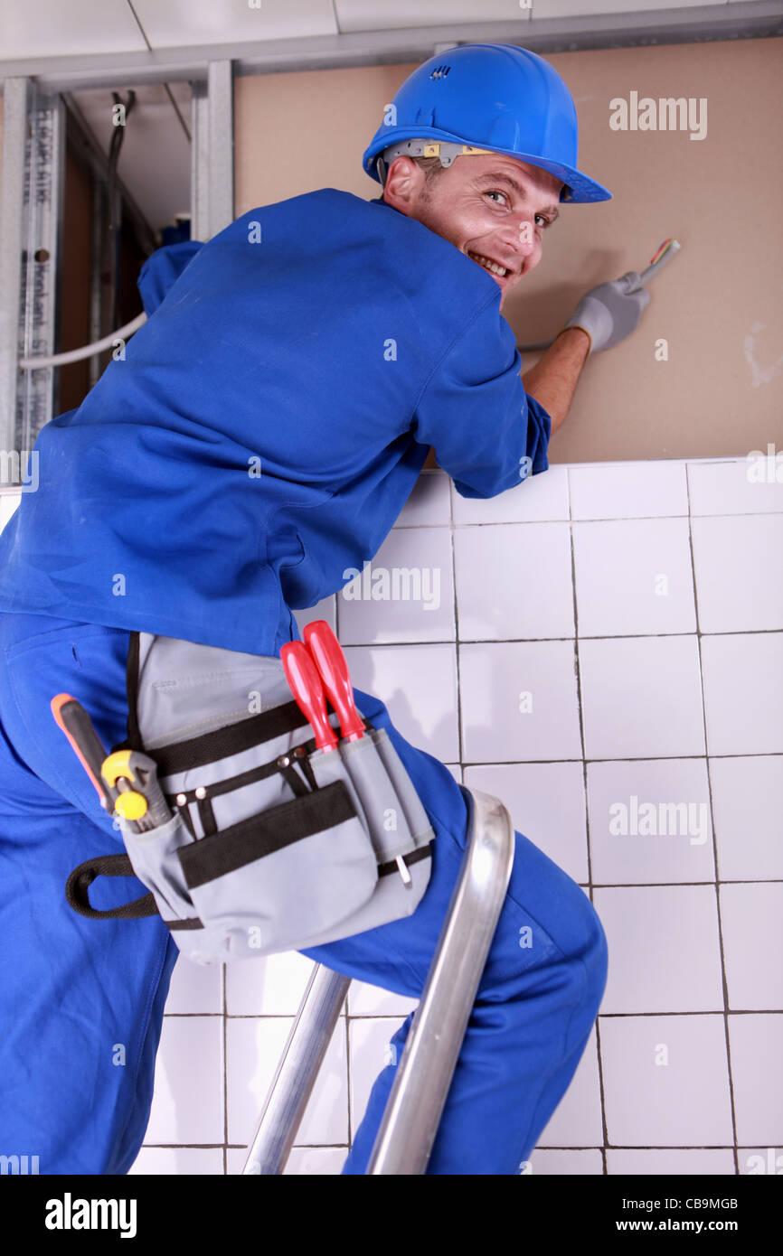 Elektriker, die Verdrahtung eines Hauses Stockfoto, Bild: 41395659 ...