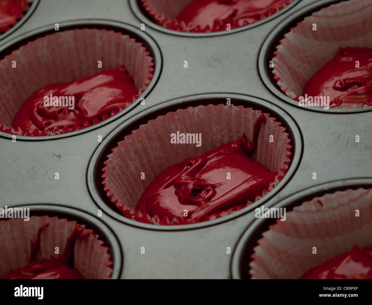 Red Velvet Cupcakes Fur Party Backen Stockfoto Bild 41397518 Alamy