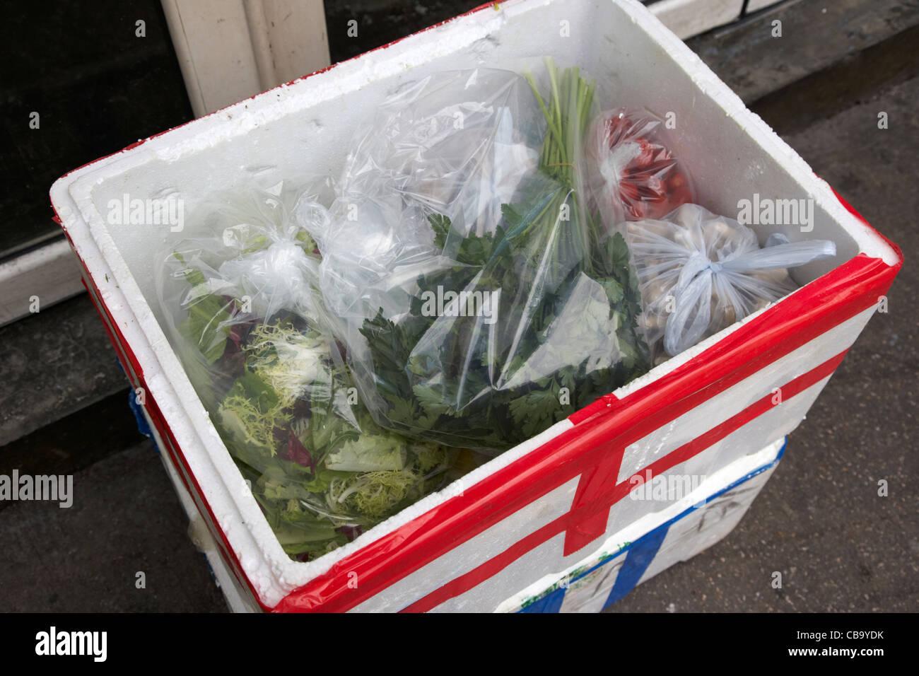 Lieferung von frischen Kräutern und Gemüse in einer Styropor isolierten Kiste Hongkong Sonderverwaltungsregion Stockbild