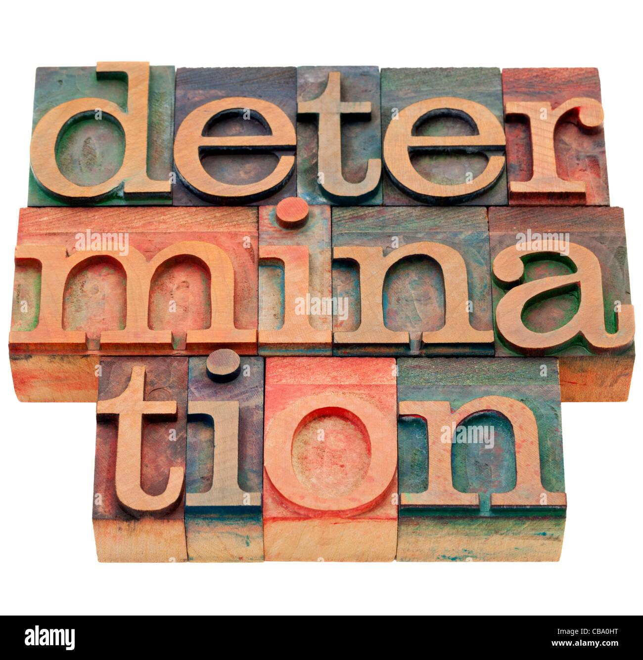 Bestimmung Wort - isolierte abstrakt in Vintage Holz Buchdruck Druckstöcke Stockbild