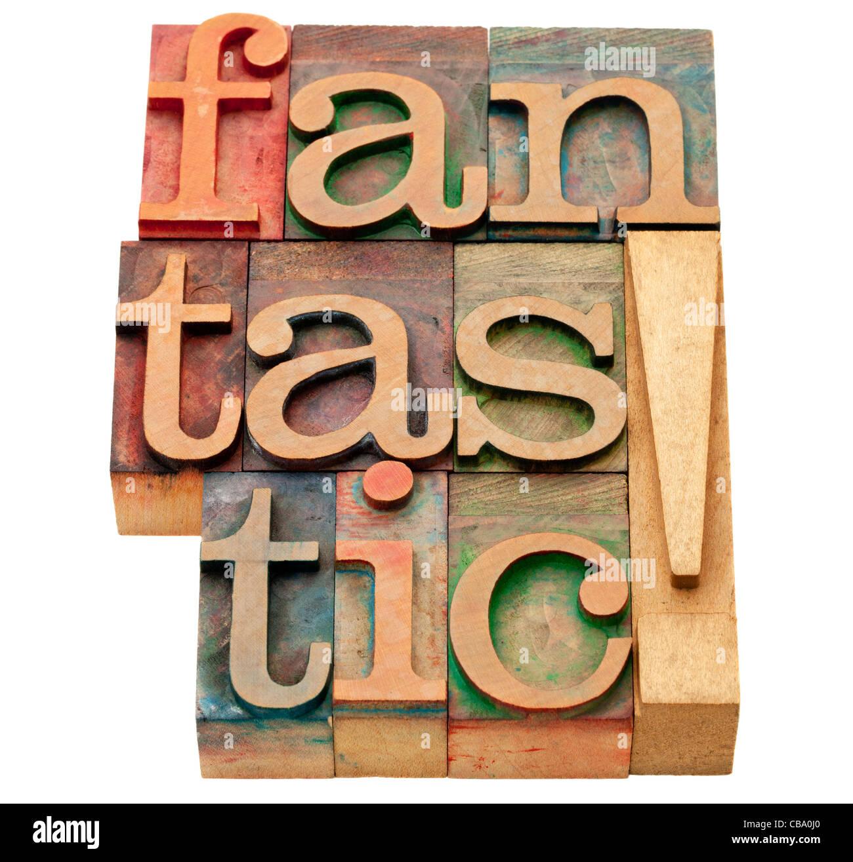 fantastische Ausrufezeichen - isolierte abstrakt in Vintage Holz Buchdruck Druckstöcke Stockbild