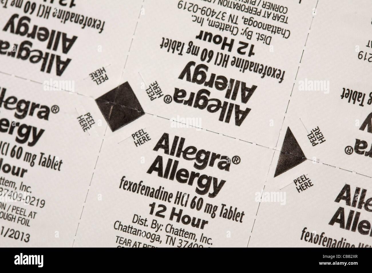 Allegra Allergie-Medizin Stockbild