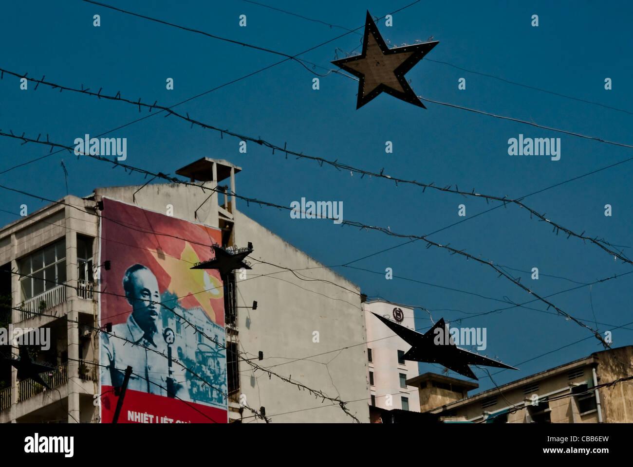 vietnam communist propaganda poster stockfotos vietnam. Black Bedroom Furniture Sets. Home Design Ideas