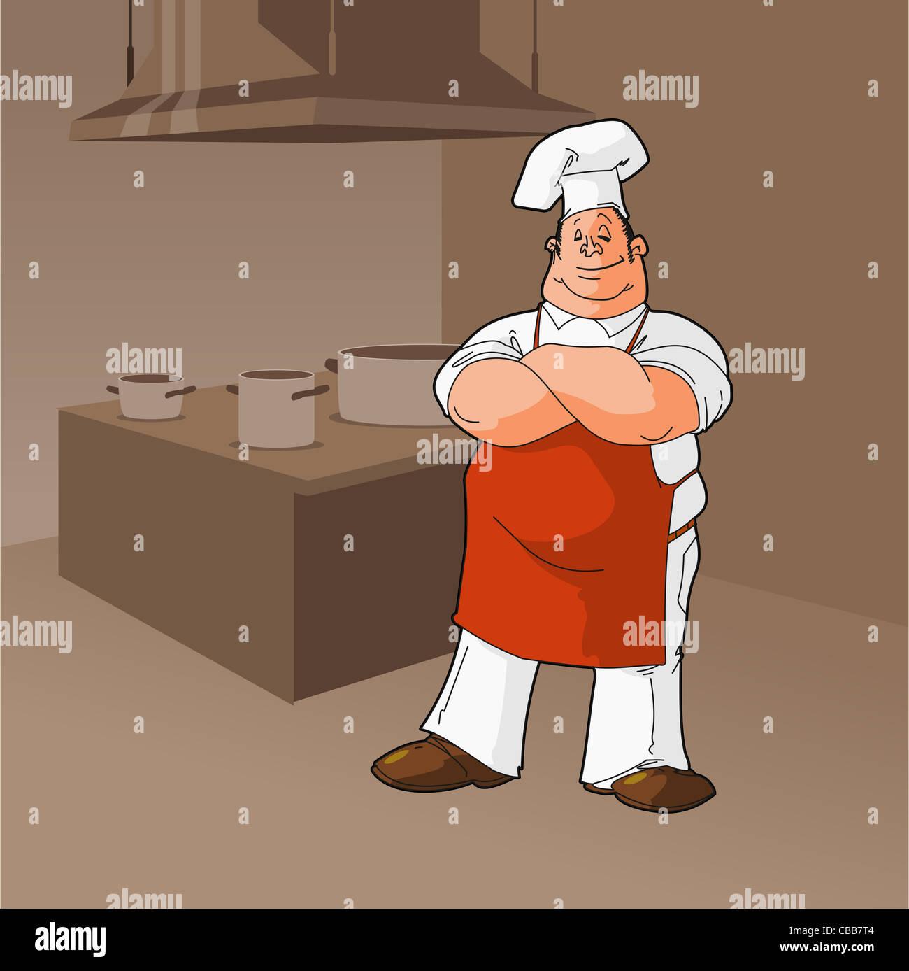 Koch In Einer Kuche Clipart Koch Mit Kuchenausstattung In Braunen