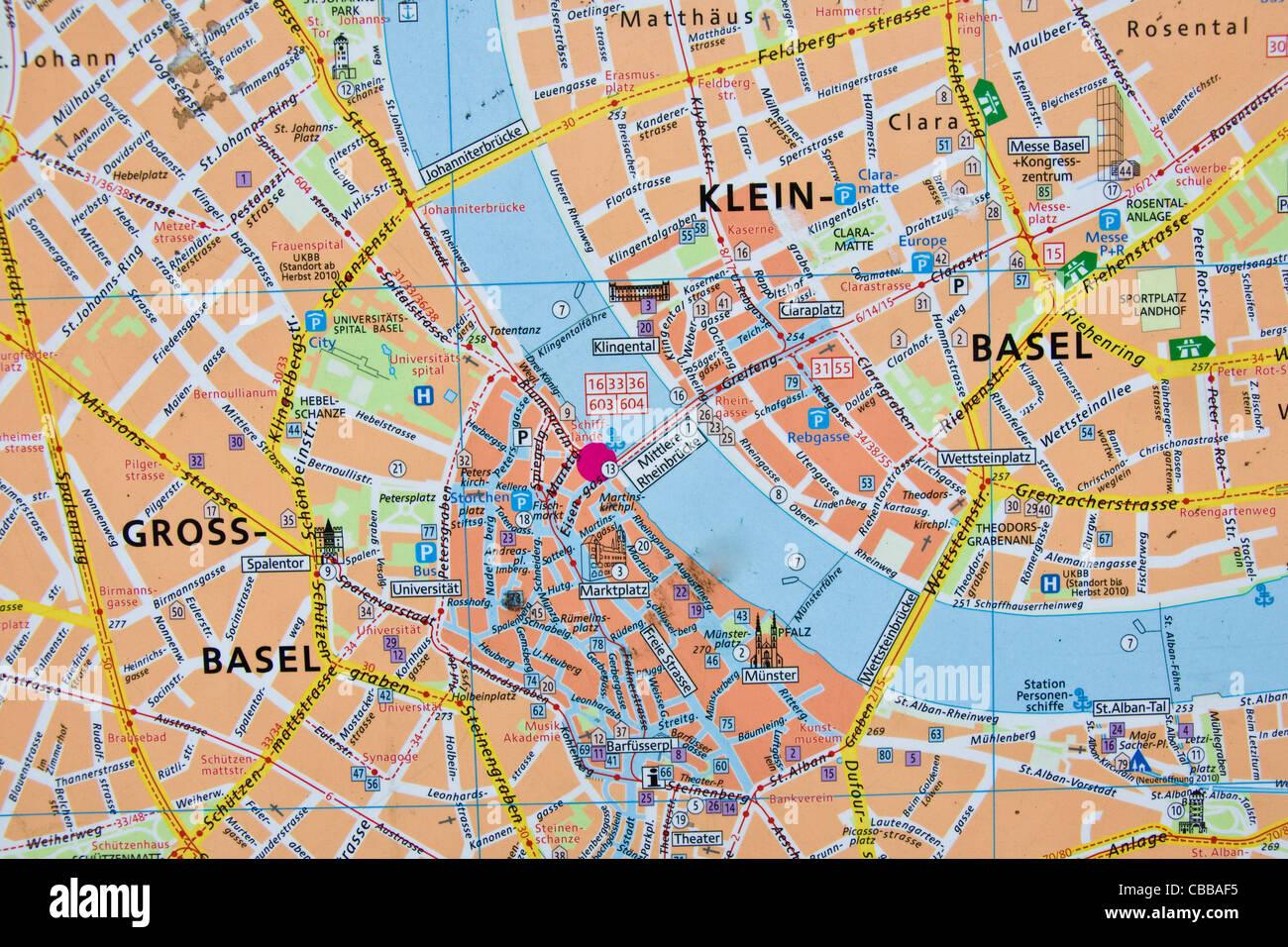 basel karte Die Innenstadt von Karte, Basel, Schweiz Stockfoto, Bild: 41431689  basel karte
