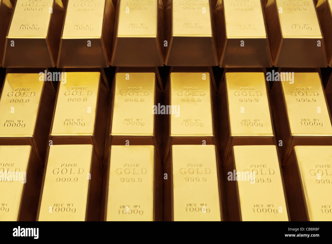 Nahaufnahme von Goldbarren Stockbild