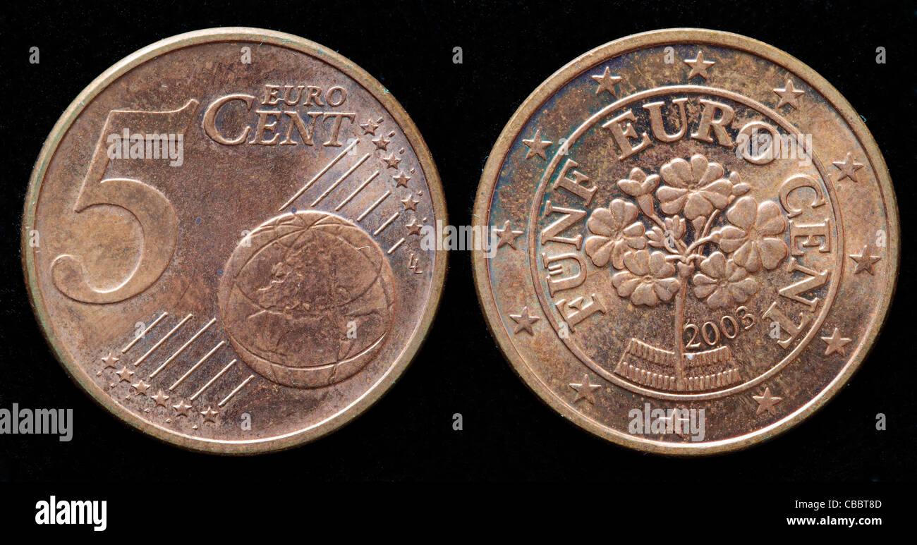 5 Euro Cent Münze österreich 2003 Stockfoto Bild 41442477 Alamy