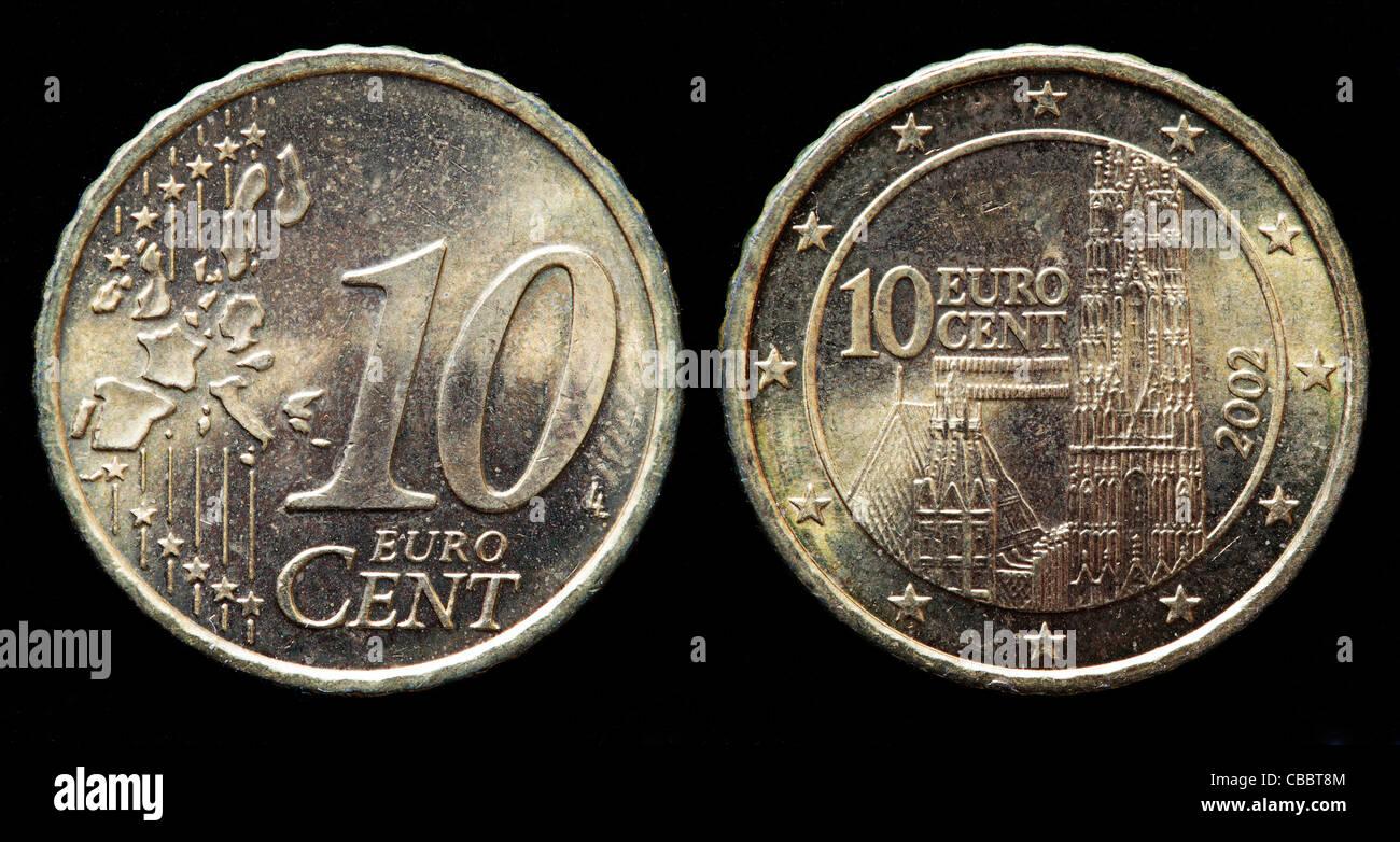 10 Euro Cent Münze österreich 2002 Stockfoto Bild 41442484 Alamy