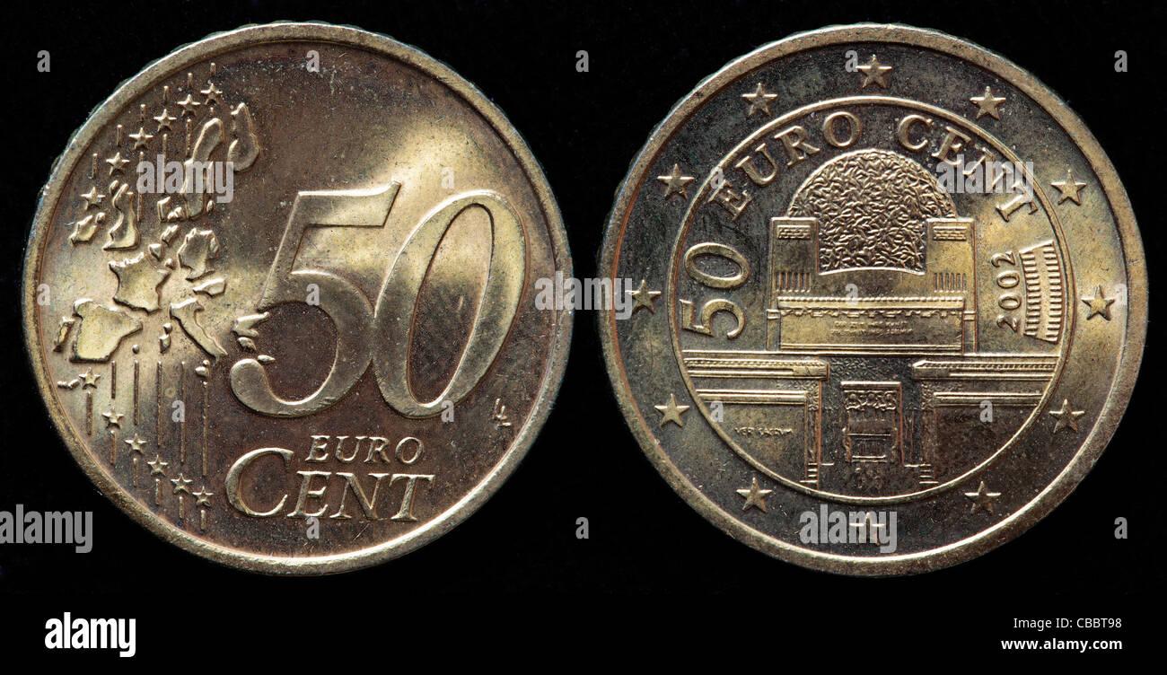 50 Euro Cent Münze österreich 2002 Stockfoto Bild 41442500 Alamy