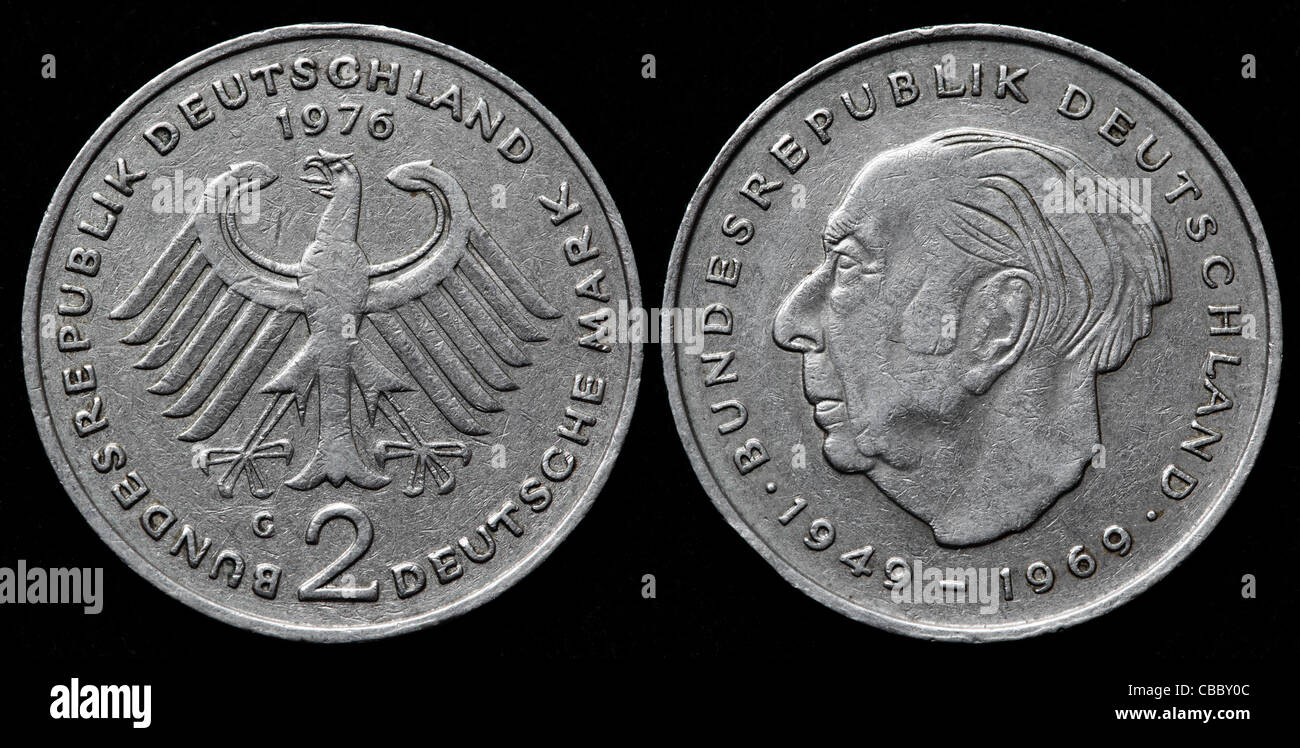 2 Deutsche Mark Münze Theodor Heuss Bundesrepublik Deutschland