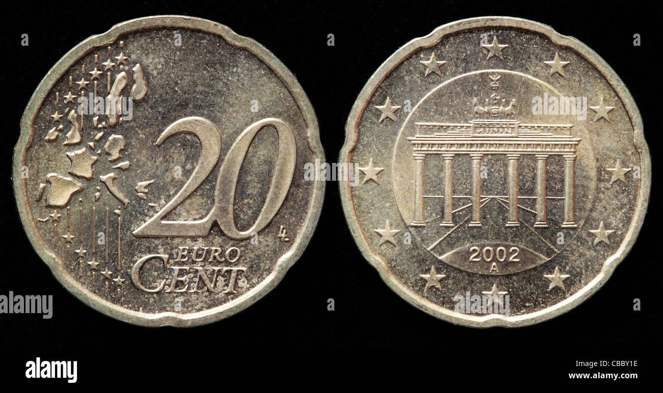 20 Euro Cent Münze Deutschland 2002 Stockfoto Bild 41444634 Alamy
