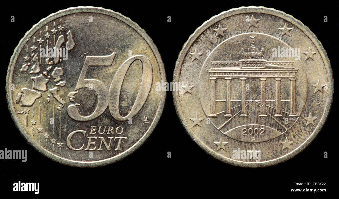 50 Euro Cent Münze Deutschland 2002 Stockfoto Bild 41444650 Alamy