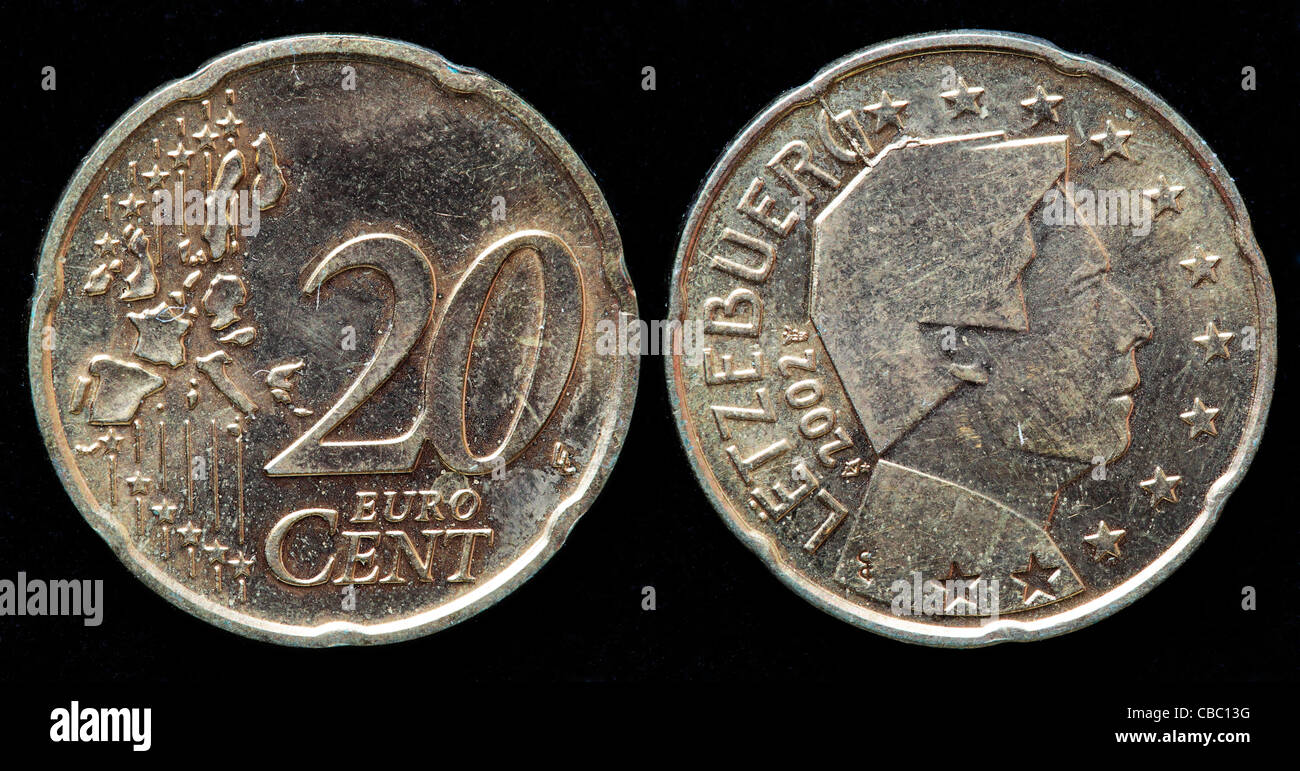 20 Euro Cent Münze Luxemburg 2002 Stockfoto Bild 41446260 Alamy
