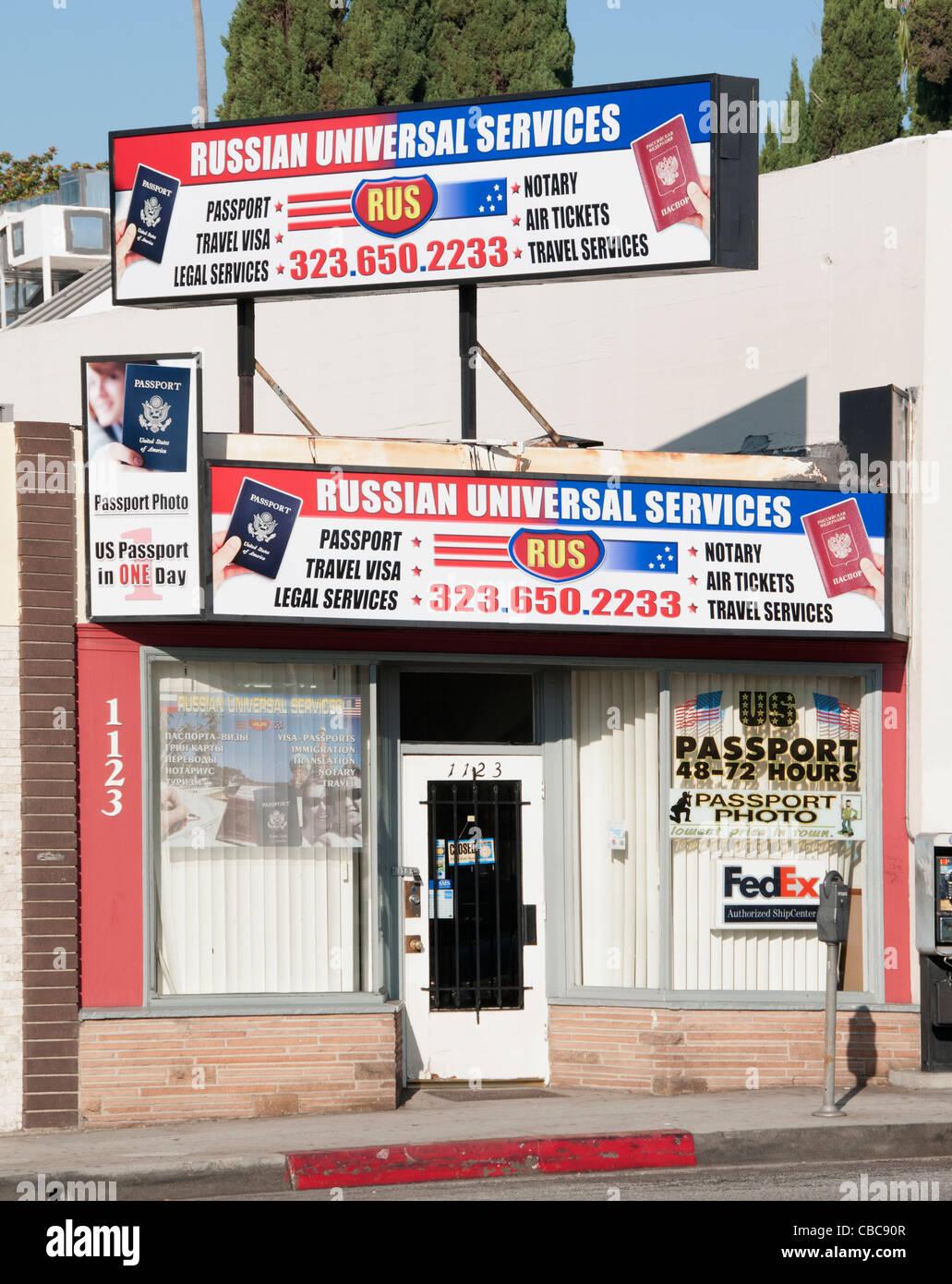 Russische Universaldienste Reisepass Reisen Visum rechtliche West Hollywood Kalifornien USA Los Angeles Stockbild