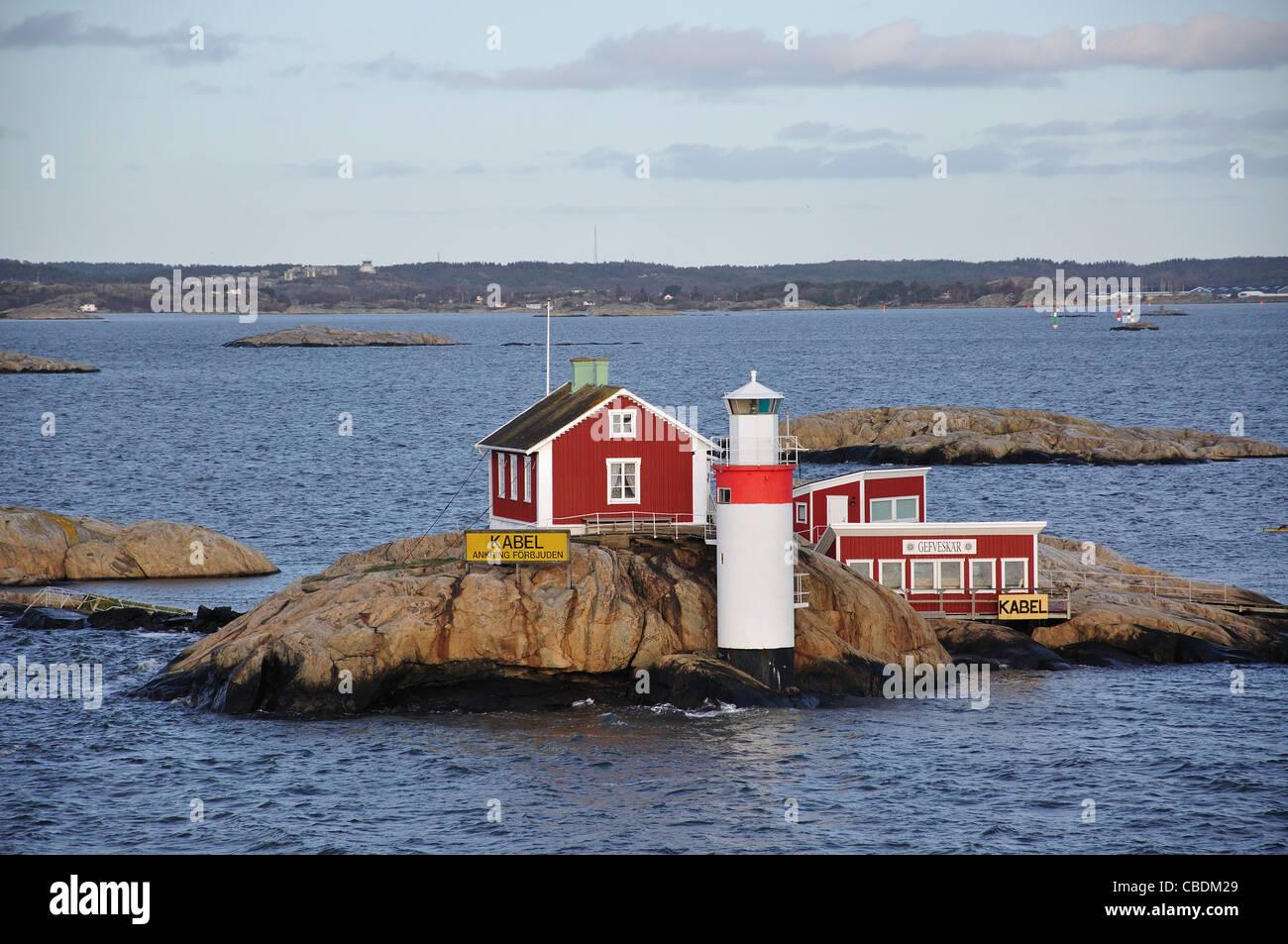 Leuchtturm am Eingang zum Göteborg Hafen, Göteborg, Västergötland & Bohuslän Provinz, Stockbild