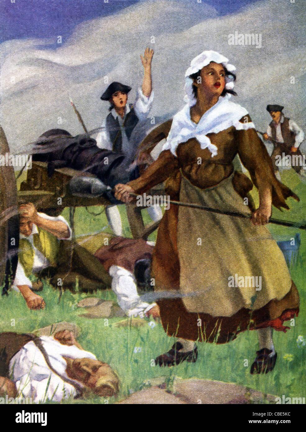 Eine Frau, die Spitznamen Molly Pitcher soll für die Kolonisten während der amerikanischen Revolution Stockbild