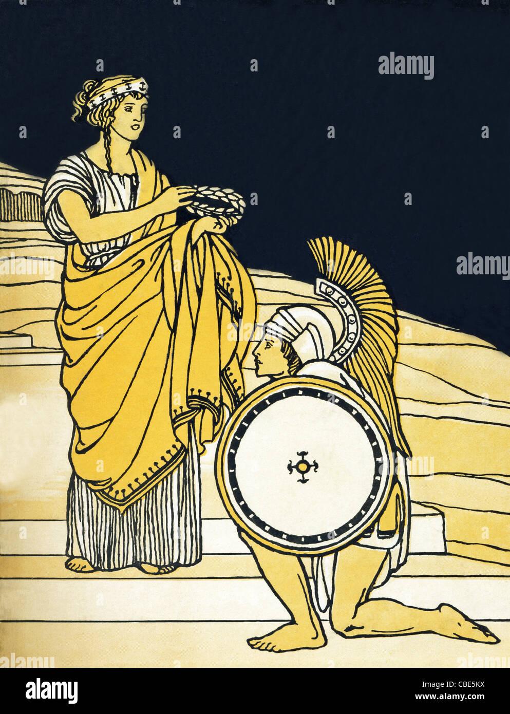 Athene, die griechische Göttin der Weisheit und des Krieges, zeigt einen tapferen Krieger mit einem Olivenkranz Stockbild