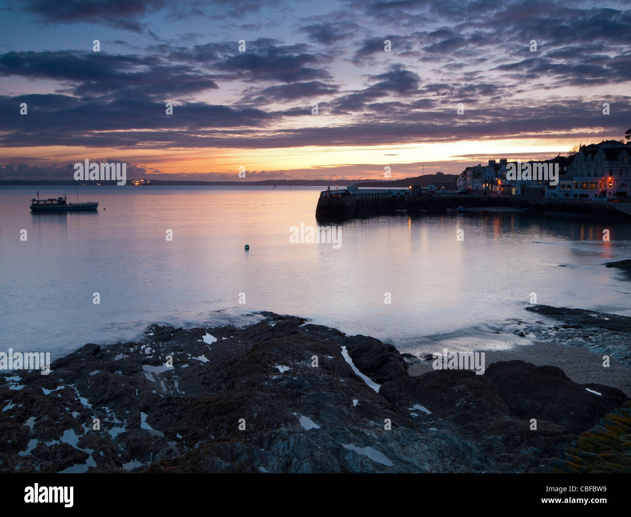 Abenddämmerung an der St Mawes Cornwall England UK Stockbild