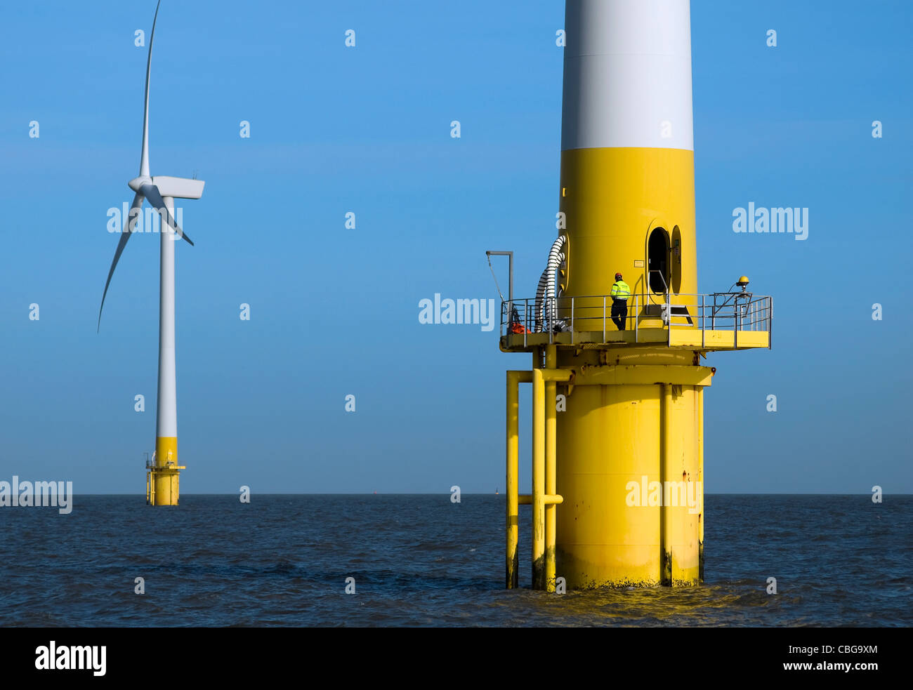 Scroby Sands Wind Farm, Great Yarmouth, Norfolk Stockbild