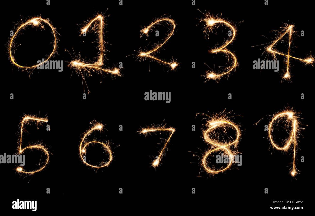 Explosive Ziffern 0-9 mit Licht gemalt Stockbild