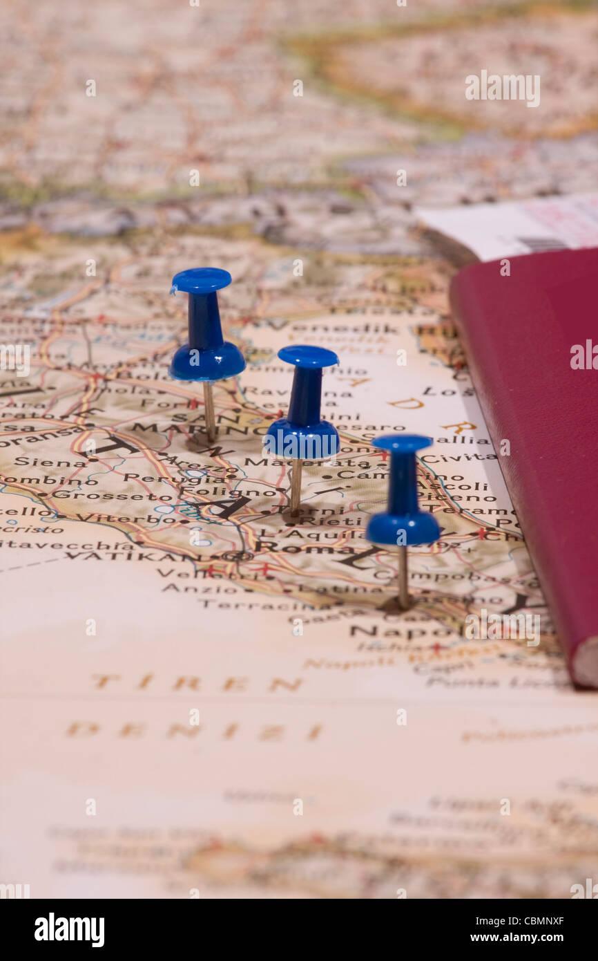 Karte und pin Stockbild