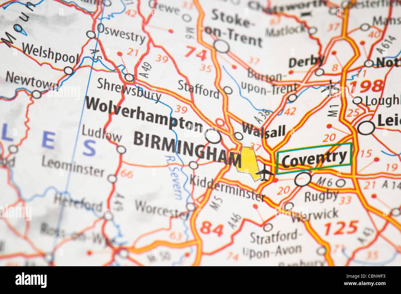 Birmingham Karte.Birmingham Auf Einer Karte Stockfoto Bild 41662967 Alamy
