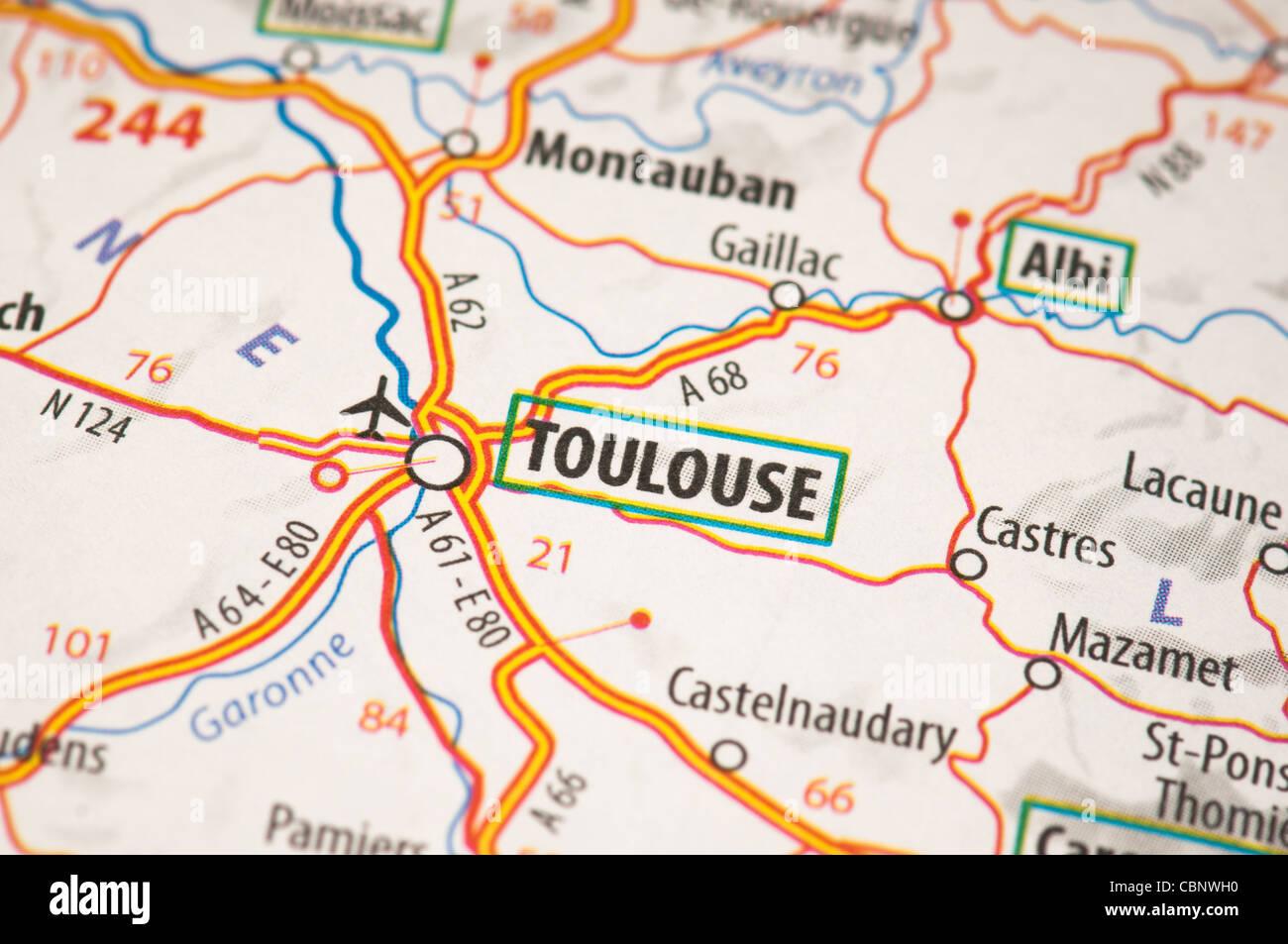 Toulouse Karte.Toulouse Auf Einer Karte Stockfoto Bild 41663020 Alamy