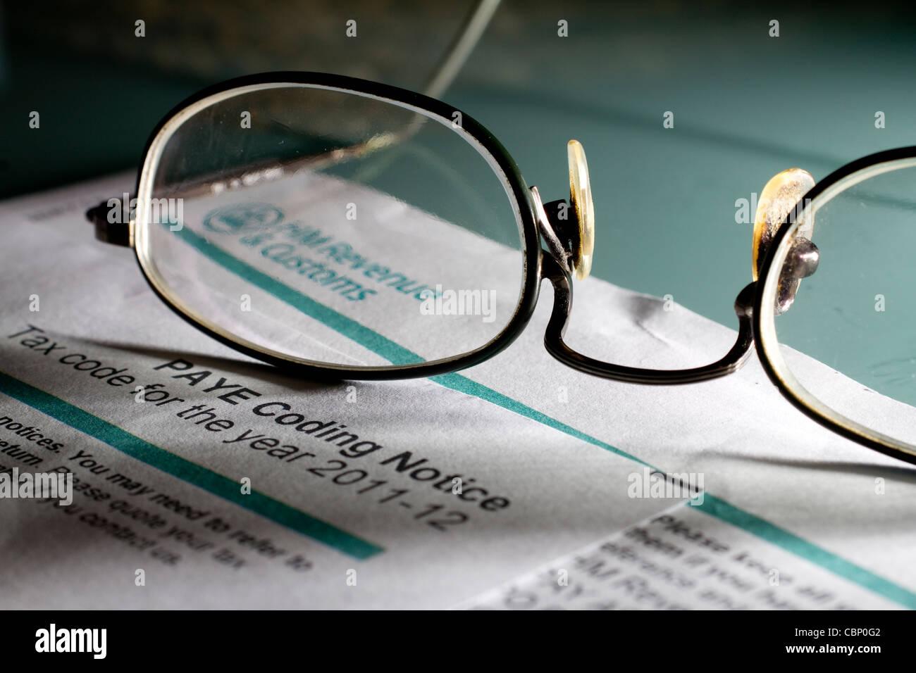 PAYE Codierung Pay bemerken, wie Sie verdienen Abgabenordnung Stockbild