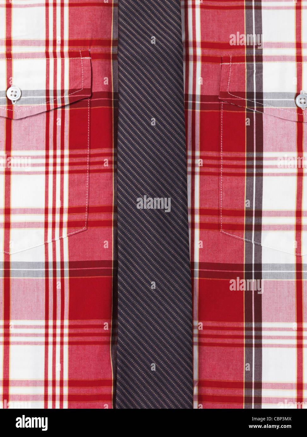 Nahaufnahme von einem rot Tartan Herrenshirt mit einem schlanken gestreifte Krawatte Stockbild
