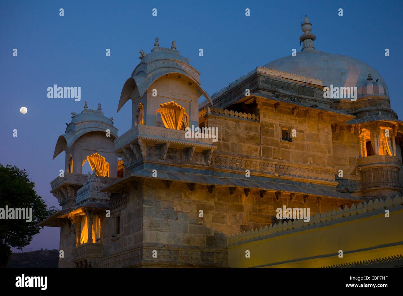 Jagmandir Insel Palast der Stadt Schlossanlage des 76. Maharana von Mewar, Shreeji Arvind Singh Mewar Udaipur Rajasthan Stockbild