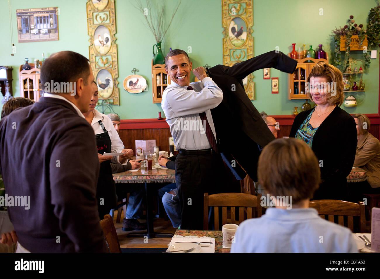 Präsident Barack Obama besucht mit der Corkery Familie bei einem ...