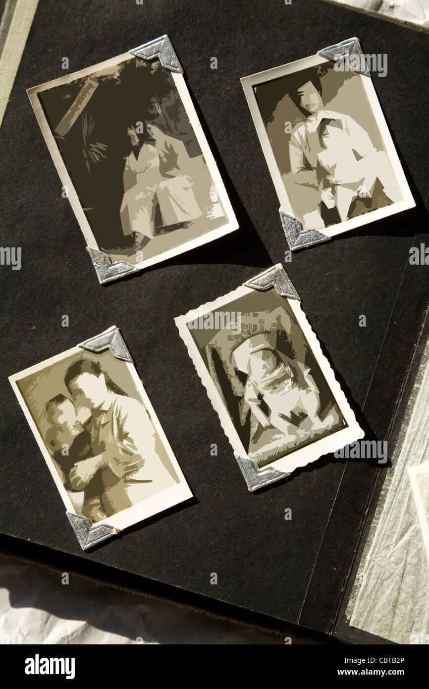 Fotoalbum mit alten befleckt alle Fotos wurden verwischt, so können ...