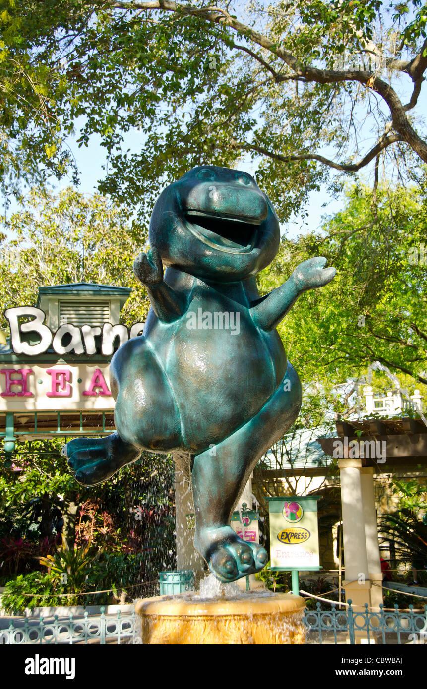 Barney Cartoon Charakter Statue Kinder Attraktion in den Universal Studios Orlando Florida Stockbild