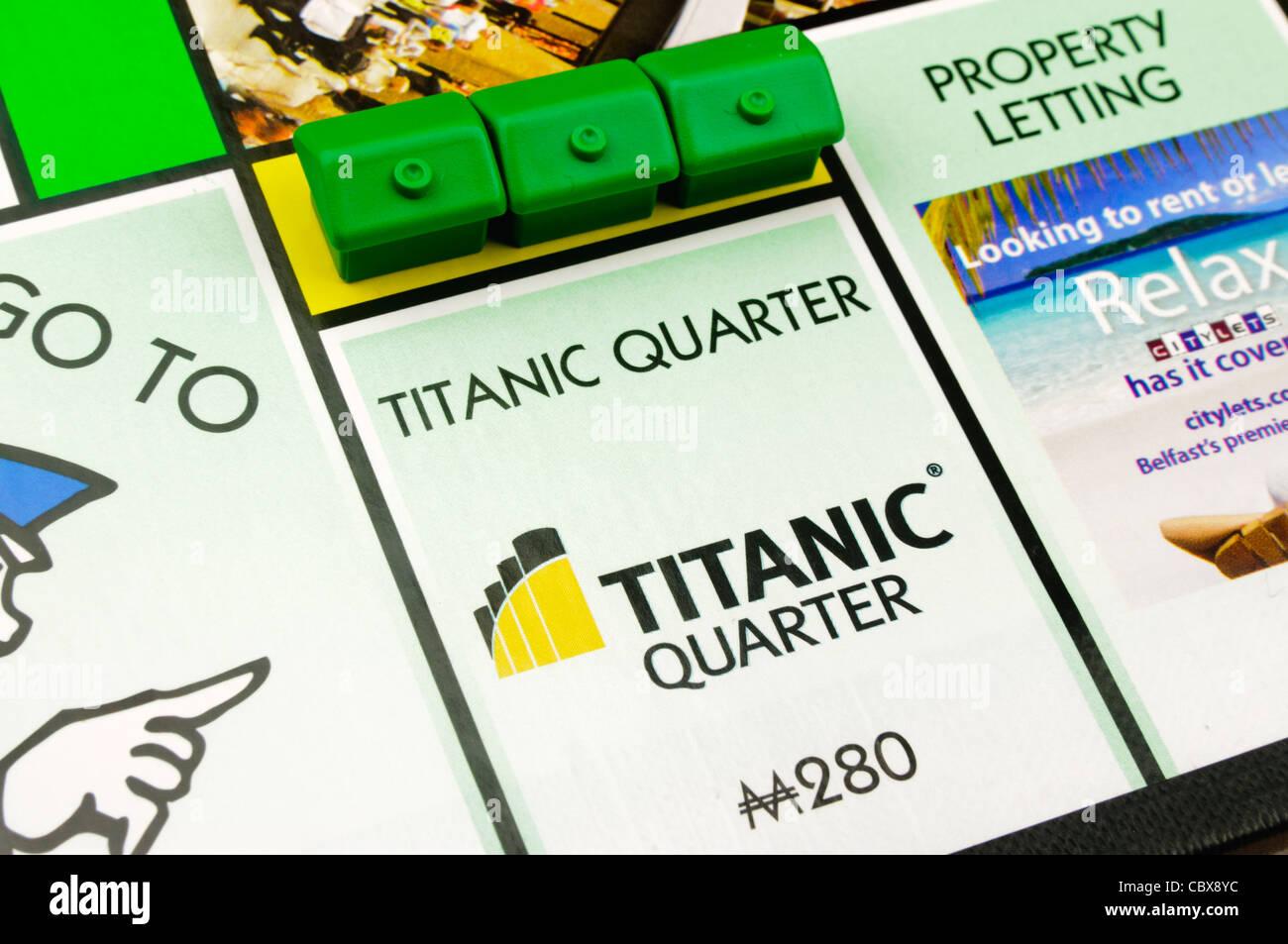 Belfast-Monopol: Bau von Häusern auf Titanic Quarter Stockbild