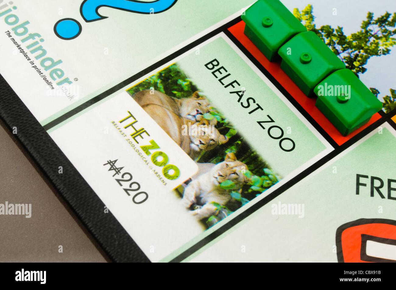 Belfast-Monopol: Bau von Häusern auf Belfast Zoo Stockbild