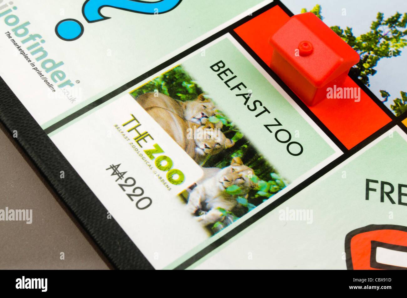 Belfast-Monopol: Bau eines Hotels auf Belfast Zoo Stockbild