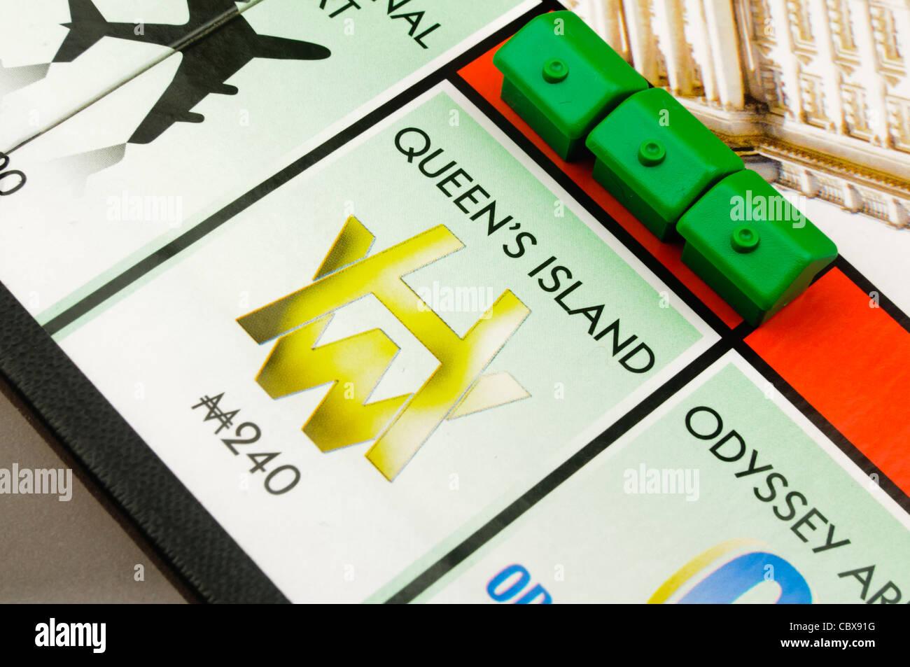 Belfast-Monopol: Bau von Häusern auf Königin der Insel Stockbild