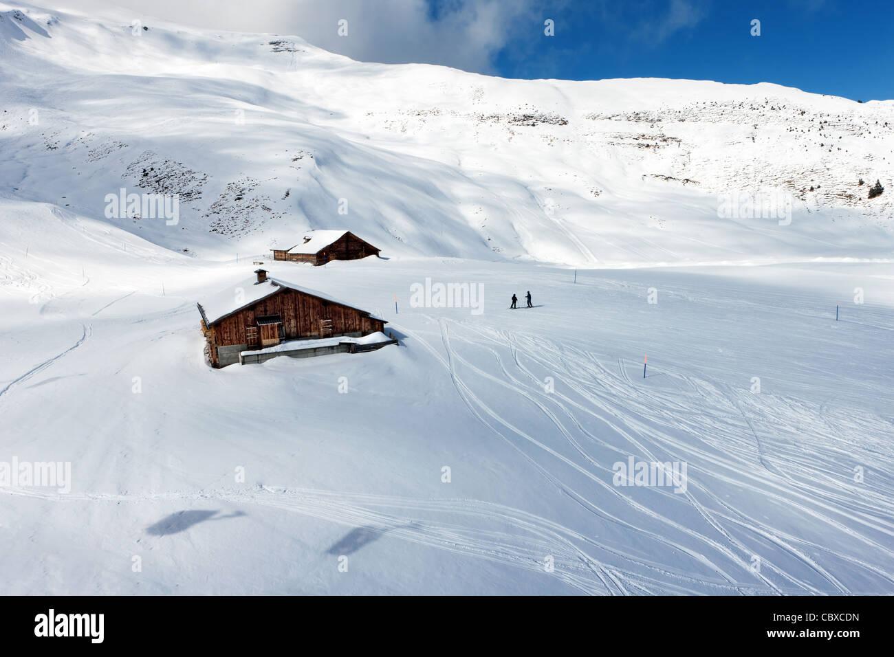 Der Skipiste in den Berner Alpen in der Schweiz. Stockbild