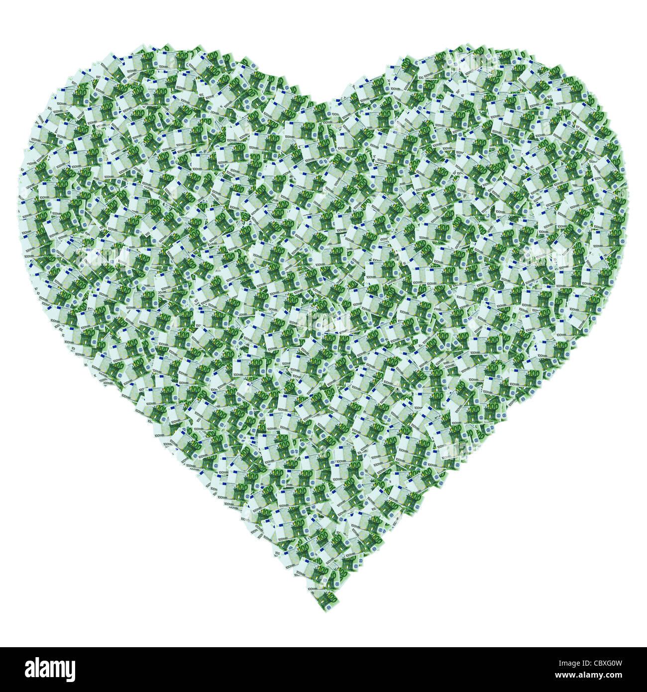 Ein Herz gemacht von 100 Euro-Banknoten. Zum Valentinstag. C?ur Composé À Partir de Karten de Banque de Stockbild