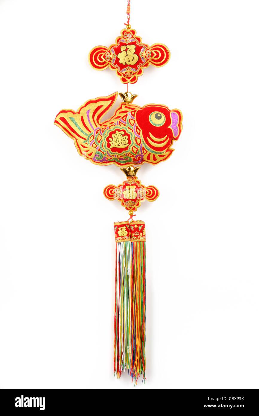 Orientalische Kunsthandwerk, traditionelle Glücksknoten isoliert auf weiss. Stockbild
