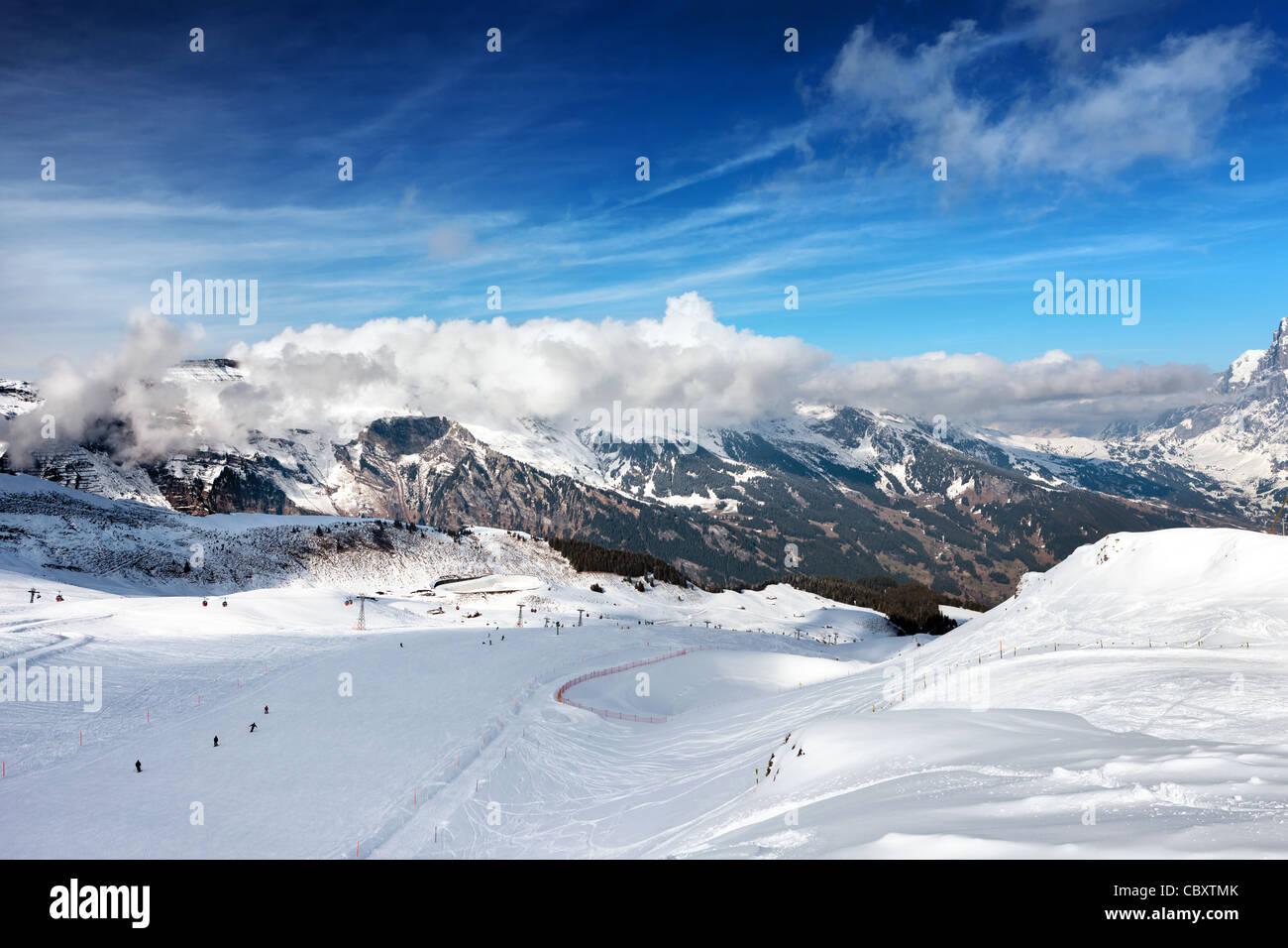 Die Skipiste. Skigebiet Grindelwald in der Schweiz. Berner Alpen. Stockbild