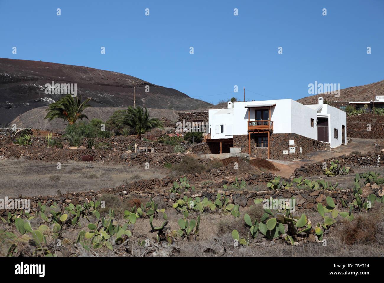 Landhaus auf der Kanarischen Insel Lanzarote, Spanien Stockbild