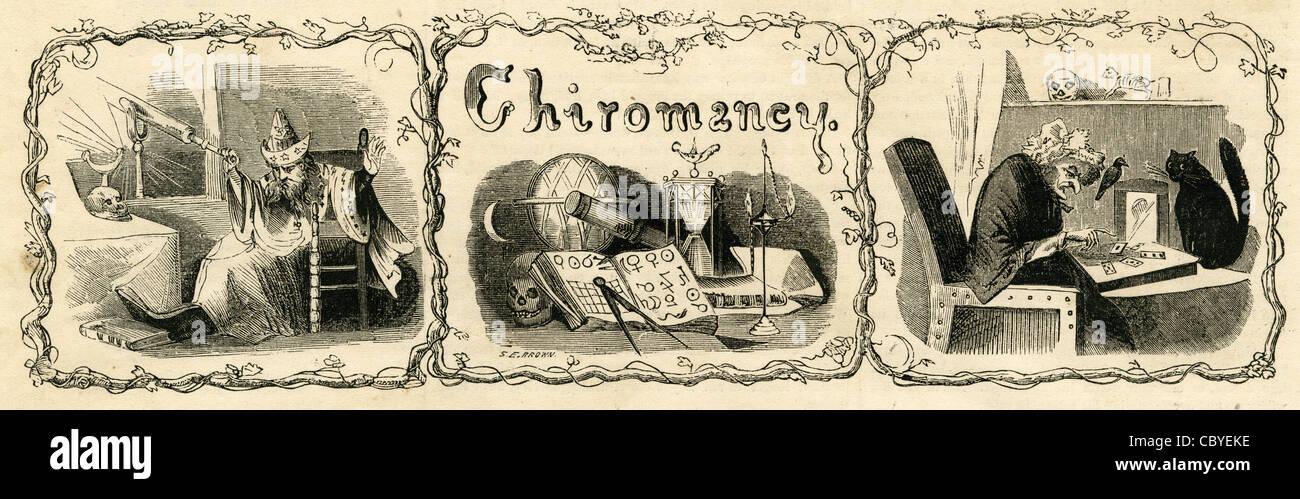 """1854 Gravur zeigt verschiedene Zeichen und Werkzeug der Weissagung. Der Kopf ist """"Chiromantie"""" oder Handlesen. Stockbild"""
