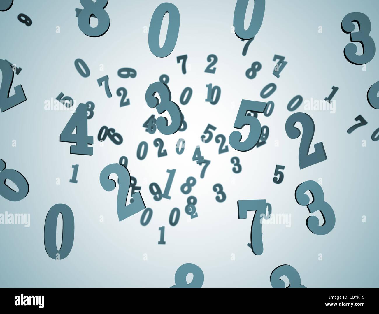 Zahlen Hintergrund 3D Stockfoto